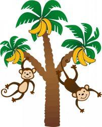 Pálmafa majmokkal falmatrica.