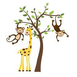 zsiráf majmokkal falmatrica