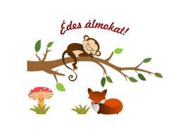 Kis rókás, majmos falmatrica.